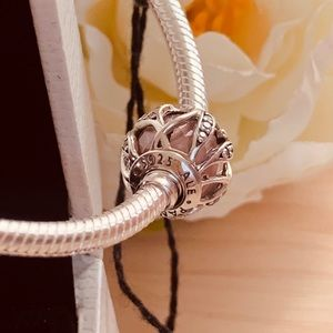 Pandora Pink Lines Of Leaves charm